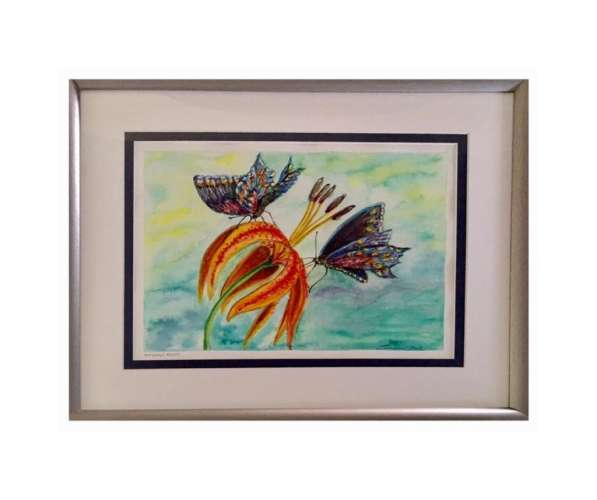 Butterfly Beauty, watercolour on coldpress, 38cm x 29cm (framed: 54cm x 44cm), $$320.0000